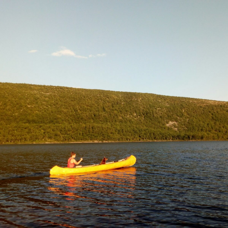 Canoe safari in the river Teno
