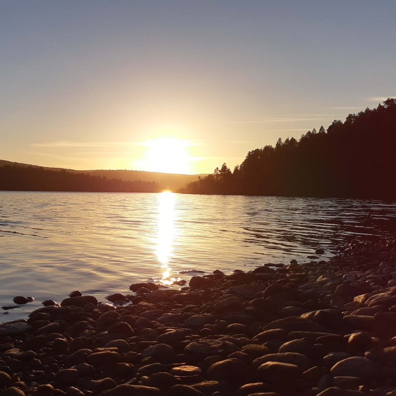 Midnight sun canoeing